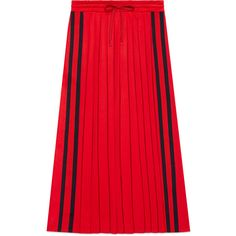Gucci Pleated Technical Jersey Skirt ($725) ❤ liked on Polyvore featuring skirts, bottoms, skirts 4, ready-to-wear, women, pleated skirt, red knee length skirt, gucci, red skirt and elastic waist skirt