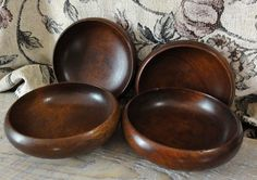 Dark Wood Bowls // Vintage Set of 4 by CanterLily on Etsy, $10.50