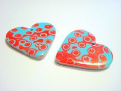 Turquoise Red Spotted Hearts Handmade Polymer Clay Beads by PennysLane, $5.00