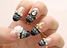 3D nails, gothic lolita, lolita nails, egl, Japanese nail art, press on nails, black french, cameo, rose, cross