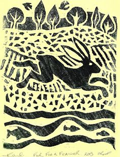 Enchanted Moon Illustration: lino print - fur fin  feather