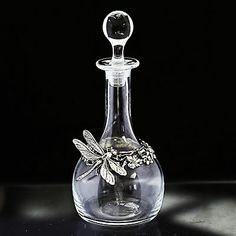 Antique French Crystal Glass Perfume Bottle Sterling Silver Dragonfly Flowers | eBay
