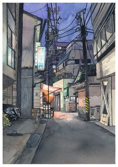 """The fourth piece in the """"Tokyo at Night"""" series of watercolors paintings. This time I used one of the photos we took with Kana on a little location hunting session near Kagurazaka in Tokyo. I especially liked the vegetable shop on the left with it's. Watercolor City, Watercolor Illustration, Watercolor Paintings, Watercolor Paper, Cityscape Drawing, City Drawing, Dance Aesthetic, Work In Japan, Tokyo Night"""