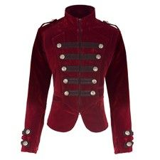 """A lavish deep red velvet tailcoat in military style. The contrast of the black trim with the large silver buttons attached on top stands out beautifully against the velvet. Wear with some skinny black jeans and chunky boots.    ML L/XL CHEST 40"""" 45"""" WAIST 37"""" 42"""" LENGTH (FRONT) 23"""" 23.5"""" LENGTH (CENTRE BACK) 31"""" 31.5"""" ARMHOLE 18"""" 19""""  Dry clean only."""