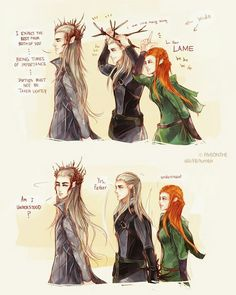 Aaaaaah, les joies de l'enfance... The Hobbit Thranduil, Kili And Tauriel, Gandalf, Thranduil Funny, Mirkwood Elves, Maturity, Hobbit Funny, Fan Art, Elvish