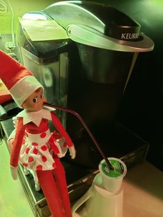 Coffee time! Let's do this!!  #CherryTheElf #ElfOnTheShelf #TeenElf
