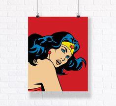 Wonder Woman Customizable Comics Vector Illustration.