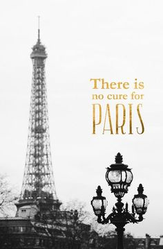 No Cure for Paris Typography Print, Black and White Art Poster