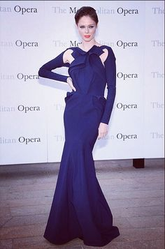 Coco Rocha is the epitome of Hollywood glamour wearing the navy Glama gown to the opening night of the MET Opera in NYC!