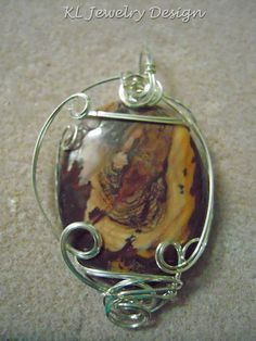Jasper with Silver Swirls Pendant by KLJewelryDesign on Etsy, $25.00