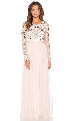 Needle & Thread Floral Cluster Embellished Gown449.00