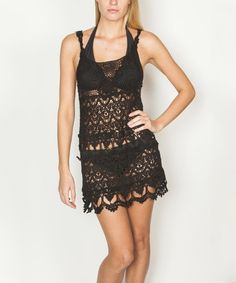 Black Crochet Cover-Up by Paradise USA Fashion #zulily #zulilyfinds