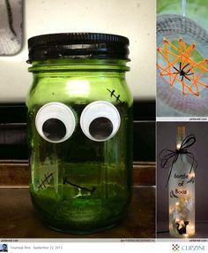 Halloween Crafts Ideas - Frankenstein Jar.  #halloweencrafts #adorable