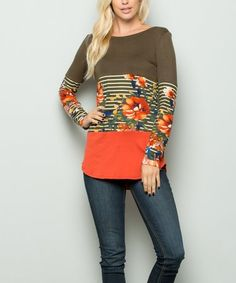e0446b431b Another great find on  zulily! Olive  amp  Orange Flower Lace Pocket Tunic -