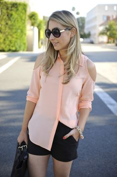 Black shorts and peach top