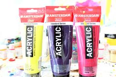 My standard series acrylic paints. They are great for initial layers but not as pigmented and therefore, less expensive.