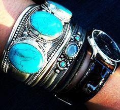 Turq stacking ♥✤   Keep the Glamour   BeStayBeautiful