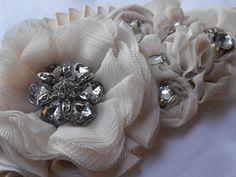 Champagne Sash,Bridal Flower Sash, Rhinestone Brooch belt,Cream, Style SB004. $159.00, via Etsy.