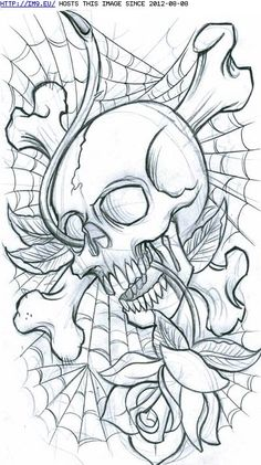 Cross Bones Skull Spiderweb And Rose Tattoos