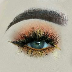 Gold and orange eye makeup #eyes #eye #makeup #bold #dramatic