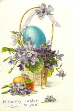 violets in basket with violet bow on tall handle & on ground blue eggin basket, yellow egg on ground