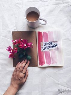 Artventures: doodling, art journaling and inspiration wall. Everything by a teen artist Noor Unnahar // pink paint strokes, notebook, art journal ideas inspiration, tumblr aesthetics, hipsters, flatlay, journaling, scrapbooking //