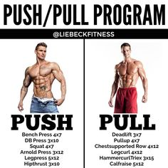 About Split Training Workout Routines. Fitness experts recommend starting with bigger muscle groups such as legs, chest and back and contin. Weight Training Workouts, Gym Training, Gym Workouts, Workout Routines, Push Pull Workout Routine, Workout Tips, Push Pull Legs Workout, Full Body Training, Body Weight Training