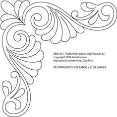 Feathered Swan Single Corner by Kim Brunner Longarm Quilting, Free Motion Quilting, Hand Quilting, Hand Embroidery Patterns, Quilt Patterns, Embroidery Designs, Stencil Decor, Stencil Designs, Dot Painting