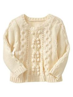 Cable crewneck | Gap  Love babies in cream...so clean...so cozy...at least until they eat something