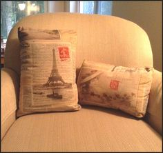 POST CARDS from away- Home Decorating   Kim used the Paris postcard fabric for two different pillows!