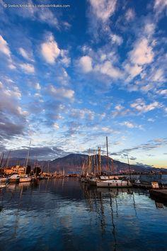 blue, boats, clouds, color, crystal, harbor, its_me, kalamata, marina, mountain, reflections, ships, sky, sunset, taygetos, water