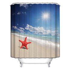 Cool & Unique beach Shower Curtain Ideas for Small Bathroom