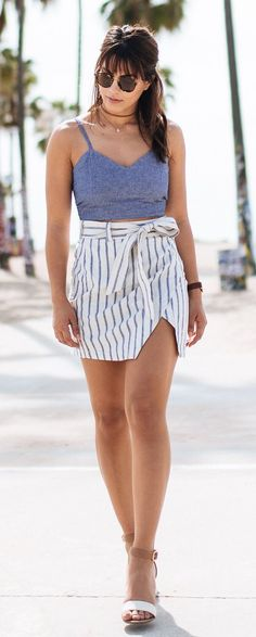 #spring #outfits  Super Power: Walking The Crowded Pavement In Venice Beach And Repelling All Human And Animal Life For At Least 25 Feet Omnidirectionally.  // Grey Tank + Striped Bow Skirt
