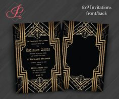Great Gatsby Party Invitations by PrettyWithInkInvites Featured @ www.partyz.co your party planning search engine!