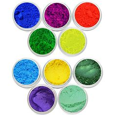 10 Piece Cosmetic Grade Mineral Makeup Soap Making Matte Neon  Shimmer Mica Pigment Powder Soap Dye Colorant DIY Pigments Packed In 3 Gram Jar Myo Set  5  16 *** Click image for more details.