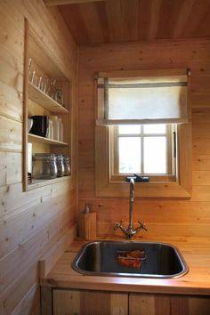 Kitchen sink of tumbleweed tiny home.