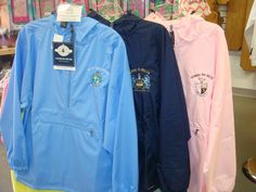 Alpha Xi Delta, Zeta Tau Alpha, and Gamma Phi Beta Water Proof Jackets. Available in Every Organization and in several colors. Personalize yours with a monogram or your chapter's name! Alpha Xi Delta, Gamma Phi Beta, Delta Zeta, Custom Greek Apparel, Greek Clothing, Rain Jacket, Windbreaker, Monogram, Organization
