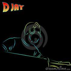 Colored DJ on black background