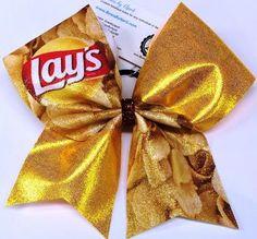 Lays Potato Chips Glitter Cheer Bow - Bows by April - Photo Volleyball Bows, Cheerleading Jumps, Cute Cheer Bows, Big Bows, Cheer Pictures, Cheer Pics, Cheer Stuff, Jojo Bows, Cheer Hair