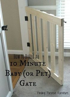 Ted's Woodworking Plans - 10 minute diy baby pet gate, diy, fences, painted furniture, woodworking projects - Get A Lifetime Of Project Ideas & Inspiration! Step By Step Woodworking Plans Diy Gate, Diy Baby Gate, Diy Dog Gate, Wood Baby Gate, Ideias Diy, Diy Décoration, Easy Diy, Simple Diy, Pallet Ideas