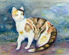Calico Cat Original Painting by JanePriserArts on Etsy, $41.00