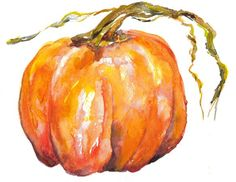 watercolor pumpkin Watercolor Projects, Watercolour Tutorials, Watercolor Cards, Watercolour Painting, Watercolor Flowers, Watercolors, Autumn Painting, Autumn Art, Fall Art Projects