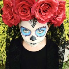 Very easy, dramatic, and no-sew sugar skull costume idea (and instructions) for a little girl or adult.