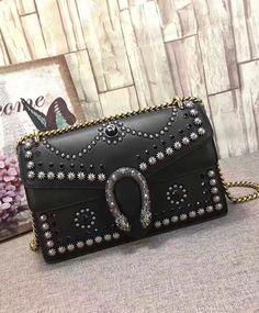 2017 Fashion Trend, Gucci Dionysus studded shoulder bag 400249 Black