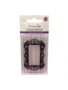 Dovecraft Clear Stamp Decorative Frame Dovecraft Clear stamp featuring a beautiful decorative frame. It measures 4cm by 7cm and is made of photopolymer to produce clear stamped images.