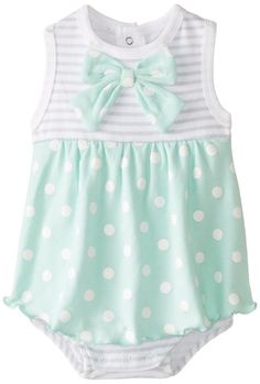 BON BEBE Baby-Girls Newborn Bow and Polka Dots Sleeveless Sundress, Multi, 6-9 Months