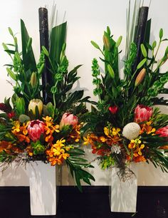 Corporate. Natives. Long lasting. Tall Flower Centerpieces, Funeral Floral Arrangements, Tropical Flower Arrangements, Creative Flower Arrangements, Ikebana Flower Arrangement, Church Flower Arrangements, Church Flowers, Beautiful Flower Arrangements, Flower Decorations