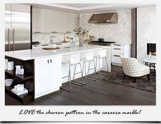 White modern kitchen with dark hardwood floors  #modern #midcentury #decor #InteriorDesign #white
