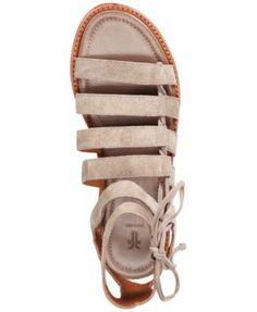 Frye Women's Blair Side Ghillie Flat Sandals - Black 6.5M