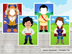 Disney Prince Photo Booth Props (includes The Prince, Prince Charming, Prince Eric & The Beast) - Printable File Frozen Photo Booth, Elmo Birthday Invitations, Frozen Photos, Body Preschool, Princess Photo, Prince Eric, Disney Princes, Photo Booth Props, Science Projects